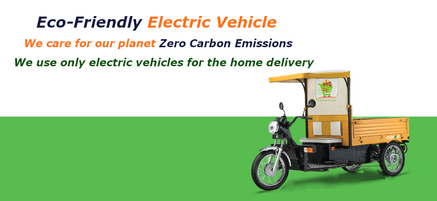 Zero Carbon Emissions - eco friendly electric vehicles- VizagGrocers.com - buy vegetables, fruits, groceries, cakes , biscuits , sweets etc online